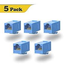 VCE (5 PACK) UTP CAT6/CAT5/CAT5e Keystone Coupler, RJ45 Female to Female Insert Coupler, 8P8C Network Keystone inline Jack (Blue)