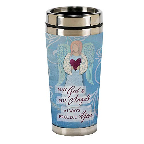 - God and Angels Protect You 16 Oz Stainless Steel Travel Mug with Lid