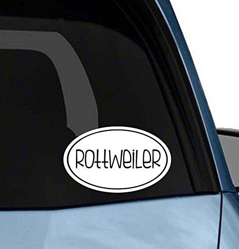 Cute Dog euro oval sticker car window or laptop vinyl decal art (Choose your dog please) (Rottweiler) ()