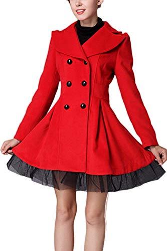 Elegantes Botonadura Battercake Slim Abrigo Outerwear Transición Abrigos Fit Mujer Encaje Largo Lana Moda Mujeres Solapa Chaqueta Splice Manga Otoño Doble Rojo Casuales De Invierno UI4qrI