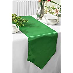 "Wedding Linens Inc. (3 PCS) 13.5"" x 108"" satin table Runners Table Runner Cover Linens for Wedding Decoration Party Banquet Events - Emerald"
