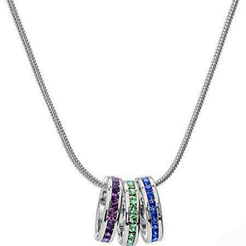 AS Birthstone Pendant Necklace - Custom Stackable Eternity Birthstone Pendants and Chains in Silver Finish (Silver Chain 18