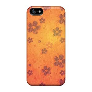 New Fashion Premium Tpu Case Cover For Iphone 5/5s - Retro Orange Flowers