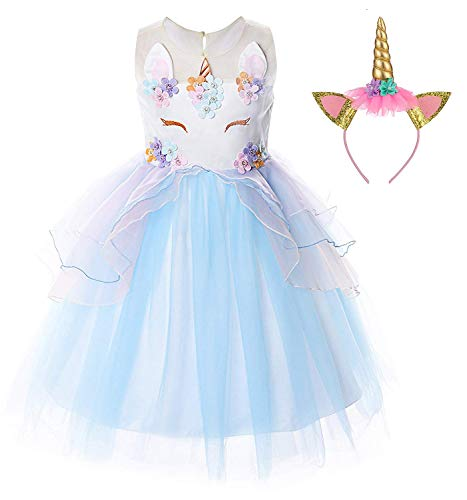 TTYAOVO Flower Girls Unicorn Costume Kids Pageant Princess Party Dress with Unicorn Headband Size 3-4 Years Blue