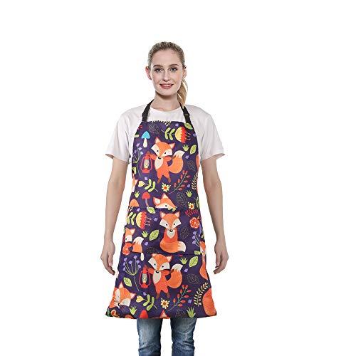 MissOwl Adjustable Bib Apron Extra Long Ties with Pockets Home Kitchen Cooking Baking Gardening for Women Men Fox 2
