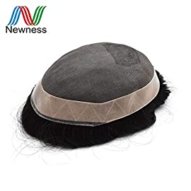 Newness Hair for Men Toupee Brazilian Human Hair Systems Mono Lace & Pu Natural Color Remy Hair Piece Stocked(ALI2)