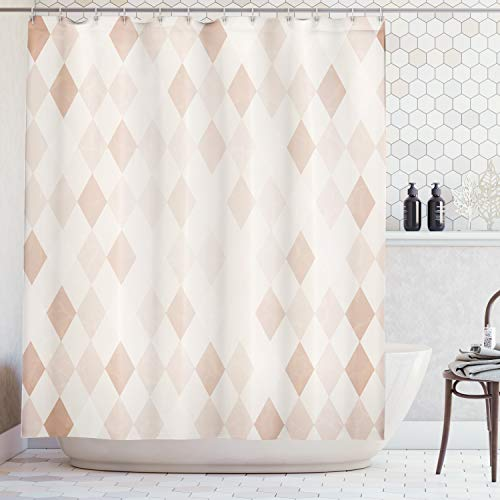 Lunarable Cream Shower Curtain, Geometrical Design Soft Colored Diamond Line Harlequin Background Pattern Classic Image, Fabric Bathroom Decor Set with Hooks, 75 inches Long, - Pattern Classic Colored