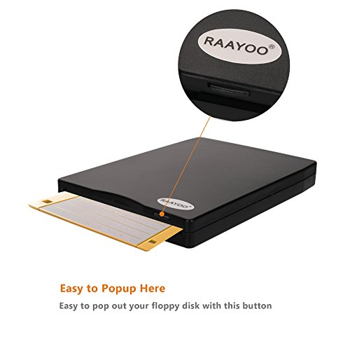 """RAAYOO USB Floppy Disk Reader Drive, 3.5"""" External Portable 1.44 MB FDD Diskette Drive for Mac Windows 10/7/8/XP/Vista PC Laptop Desktop Notebook Computer Plug and Play No Extra Drivers– Black by RAAYOO (Image #2)"""
