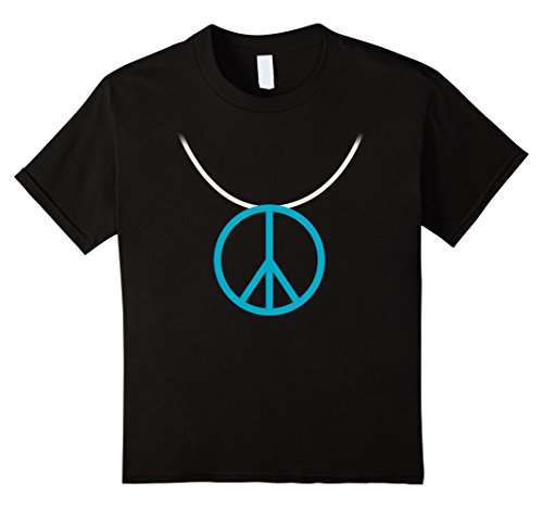 Kids 1960s Hippie Costume Shirt Peace Sign Necklace 12 Black (1960 Costumes For Kids)