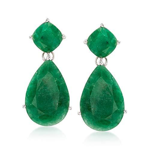 Ross-Simons 19.20 ct. t.w. Emerald Drop Earrings in Sterling Silver