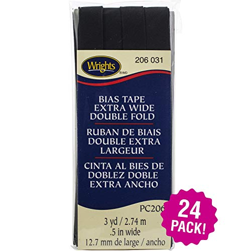 """Wrights 96852 Double Fold Bias Tape .5"""" X3yd 24/Pk-Black, Pack"""