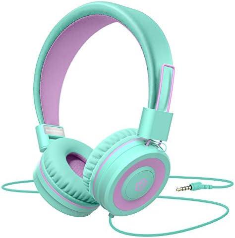 Kids Headphones,Besom i66 Headphones for Girls- Wired Headphones for Kids, Adjustable Foldable Tangle-Free Cord 3.5mm Jack on Ear Headset for iPad Tablet Kindle Airplane School Green
