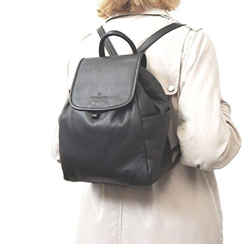 TASCHENZAUBER® Damen Rucksack ALICE - ALLROUNDER aus hochwertigem echtem Leder weiches Nappaleder in BRAUN - HANDMADE in ITALY