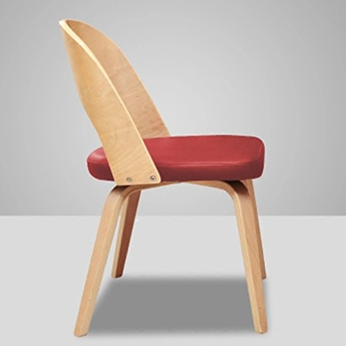 Solid Wood Chair, Dining Chair Bending Wooden Computer Chair/Simple Home Fiber/Leather Soft Case Adult Chair (Color : Red) (Footrest Pouffe)