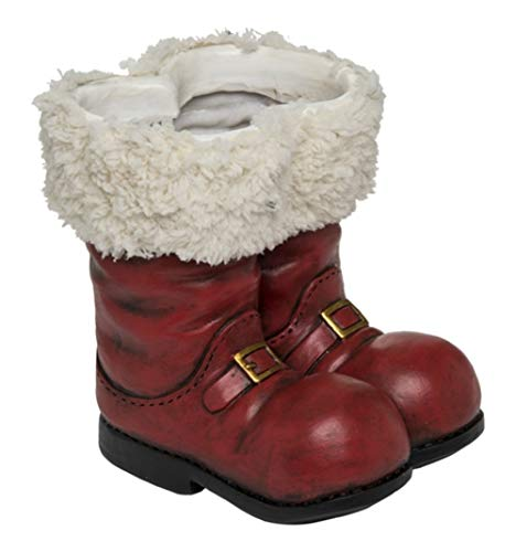 (Transpac Red 3D Santa Boot Planter, Candy Dish, Floral Vase)