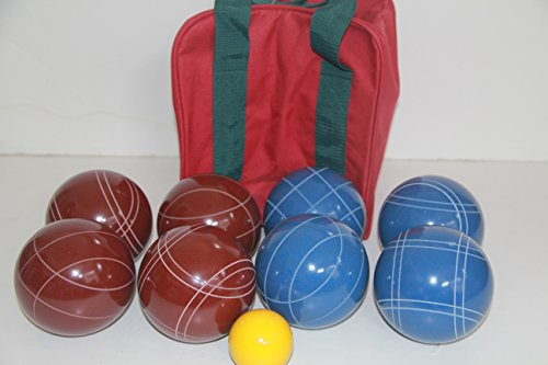 Premium Quality and American Made, 110mm EPCO Bocce Set - dark red and blue balls and maroon/green bag by BuyBocceBalls