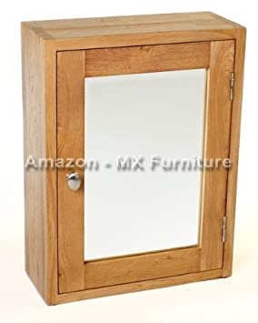 New Natural Solid Oak Mirrored Bathroom Cabinet: Amazon.co.uk ...