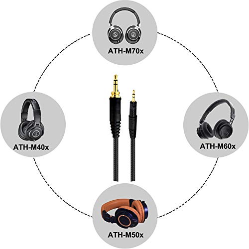 Audio Technica Replacement Cable for ATH-M70x, ATH-M60x, ATH-M50x, ATH-M40x, Audio Technica Headset Cord 1.5m/ 5 Feet
