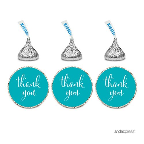 (Andaz Press Chocolate Drop Labels Stickers, Thank You, Aqua, 216-Pack, Teal Turquoise for Wedding Birthday Party Baby Bridal Shower Hershey's Kisses Party Favors Decor Envelope)