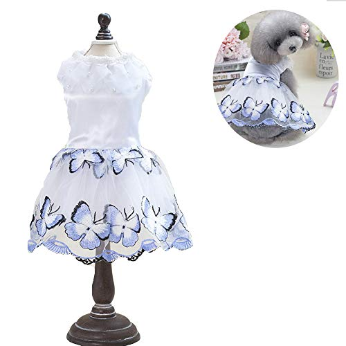 (NACOCO Cat Dog Tutu Dress with Pearl Butterfly Puppy Cute Lace Skirt Printed Princess Skirt Sweet Pet Summer Costume)