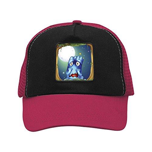 Ringkyo Trucker Hat Blue Monster Adjustable Wine Red Cap