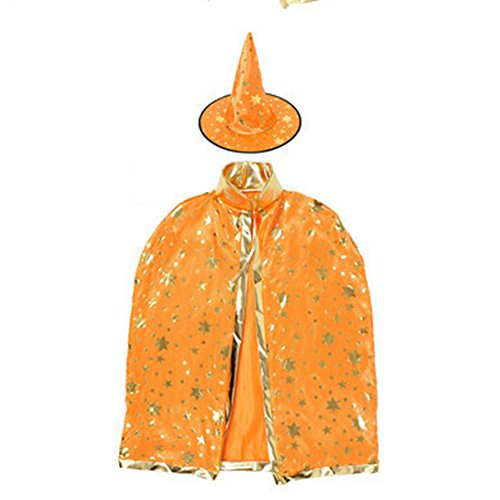 dds5391 Dds5391 Special Festival Offers Girls Boys Kids Gilding Star Cloak Party Hat Witch Halloween Fancy Party Prop Orange]()