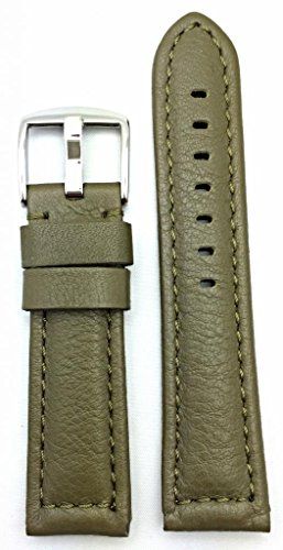 22mm Green, Panerai Style, Smooth Soft Leather Watch Band