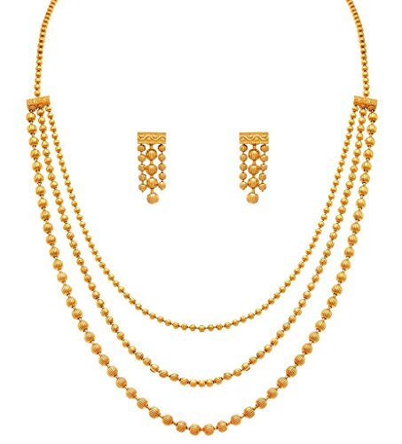 - I Jewels One Gram Gold Plated Multi Strands Necklace with Earrings Set for Women MS141
