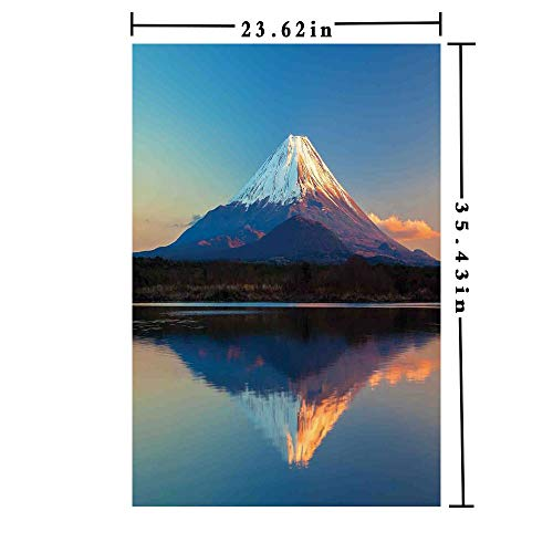 Removable Static Decorative Privacy Window Films 3D Printed, Mount Fuji and Lake Shoji Picture Clear Sky Sunset Photo Print Both Suitable for Home and Office, 23.62 x 35.43 inch,