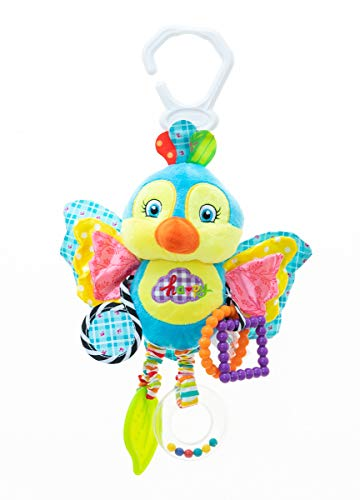 (RichChoice Bird Baby Hanging Toys:3-6 Month,1-3 Year Old Toys for Car Seat, Stroller, Baby Cot, Crib; Blue Bird Toy for Newborn, Infant, Toddler,Babies with Crinkle, Rattle, Teether,Squeaker,Mirror)