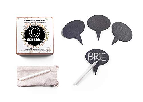 (SPEShh Cheese Markers Set   6 pcs - 4 Chalkboard Labels Made of Natural Slate and 2 Soapstone Chalks   Perfect For Cheese Board Display Platter. Ideal for Dinners and Parties - Great Gift Idea)