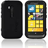 Otterbox Black Defender Series Silicone Over Hard Case w/ Holster & Screen Protector for Nokia Lumia 822