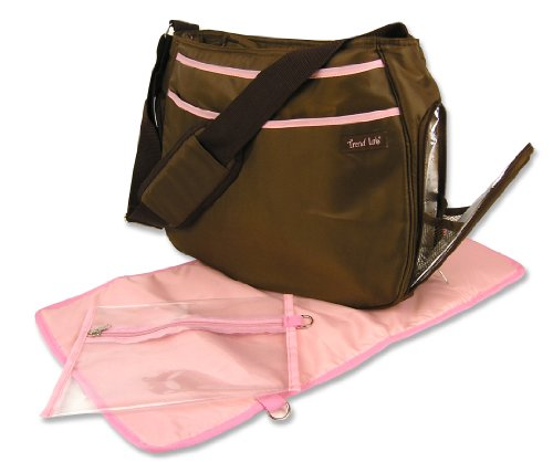 Trend Lab Messenger - Trend Lab Ultimate Diaper Bag, Brown/Pink
