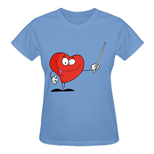 Friendly Heart Character Holding A Pointer Graphic T Shirts For Women Round Neck (Coolest Cartoon Characters)