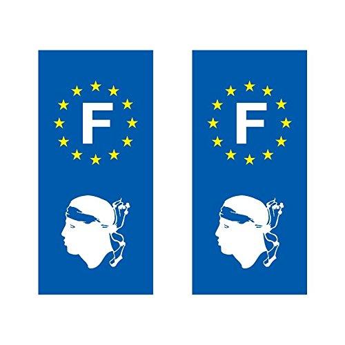 Lot de 2 sticker plaque immatriculation voiture logo régionaux Tête Corse