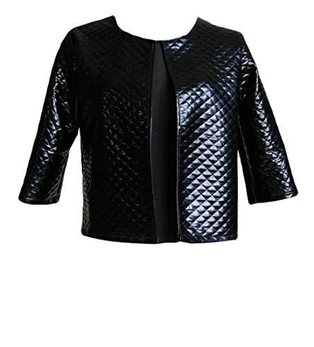 Domple Women's Bomber Open Front Outdoor Quilted Metallic Short Jacket Black - Quilted Metallic Jacket