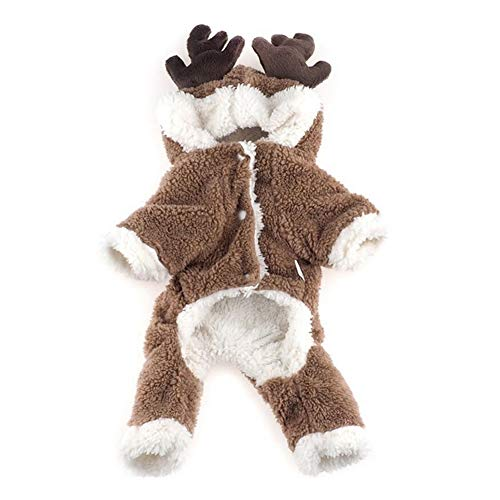 NiceWave Reindeer Cute pet Coat Clothing elk roe Deer Sweet Warm Soft Coral Fleece pet Hooded Coat Winter Hooded Sweater Combination Christmas Puppy Clothes - Size M
