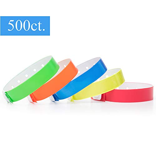 (Ouchan Multicolors Plastic Wristbands Variety Pack - 500 Pack Wristbands for Events Club Music Meeting)