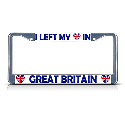I Left My Heart in Great Britain Flag Metal License Plate Frame Tag Border Perfect for Men Women Car garadge Decor