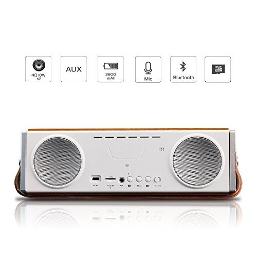 Yilong Portable Wooden Bluetooth Speaker, Superway Hi-Fi Premium Sound Quality Wireless Music Speaker 10W with Super Bass , Built-in Mic, for iPhone, iPad, Android, Smartphone,ed..