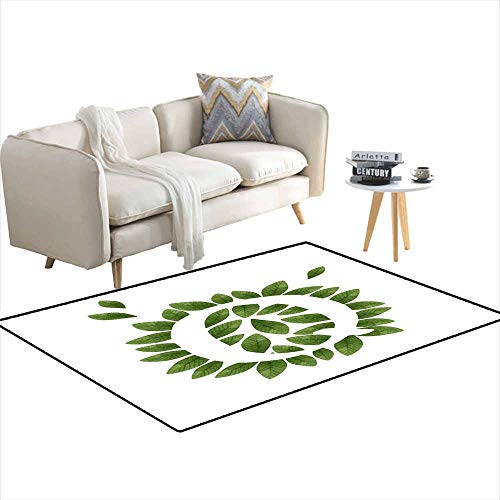 Kids Carpet Playmat Rug Floral Letter Q in Green Leaves - Rug Catalina Floral