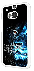 261 - Lion Quote if you cannot do great Thing do small things in a great way Design For htc One M9 Fashion Trend CASE Back COVER Plastic & Slim Metal - White