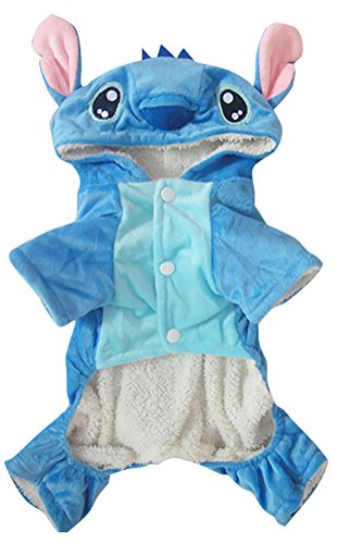 Woo Woo Pets Winter Warm Adorable Dogs Clothes for Halloween Cute Stitch Pet Costumes Christmas Blue M ()