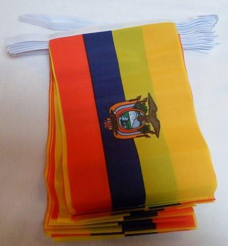 AZ FLAG Guirnalda 6 Metros 20 Banderas de Ecuador 21x15cm - Bandera ECUATORIANA 15 x 21 cm - BANDERINES: Amazon.es: Hogar