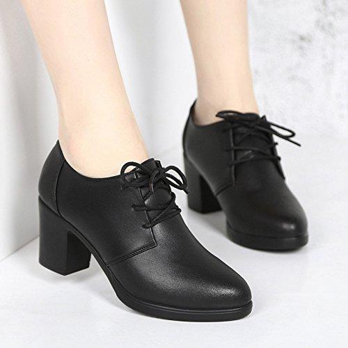 bocca donna L'alto 36 scarpe SCARPE cingitallone scarpe singolo scura nero DONNA femmina l'INGHILTERRA college irregolare con cinghia xqqF4tnr0