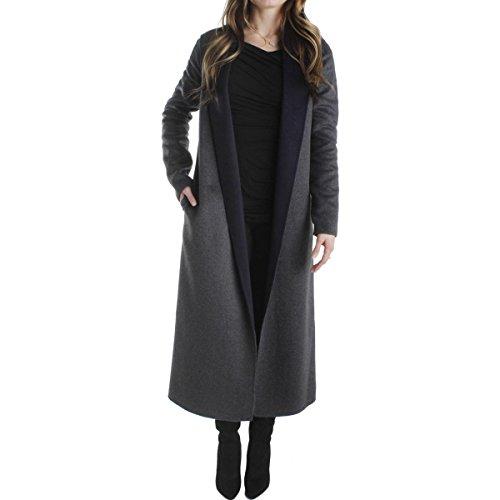 T Tahari Womens Hannah Wool Open Front Long Coat Gray L