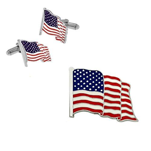 Pin Cufflinks - PinMart Silver Made in the USA American Flag Enamel Lapel Pin & Cufflink Patriotic 2 Pc Bundle set