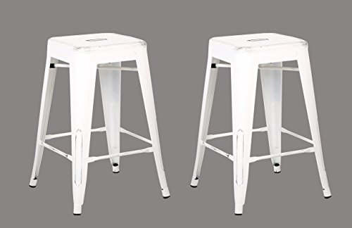 AC Pacific Backless Indoor and Outdoor Metal Chair Barstool White 24-Inch Set of 2