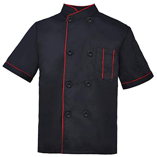 TOPTIE Kid's Chef Coat for Cooker Uniform Halloween Costume, Black with Red -