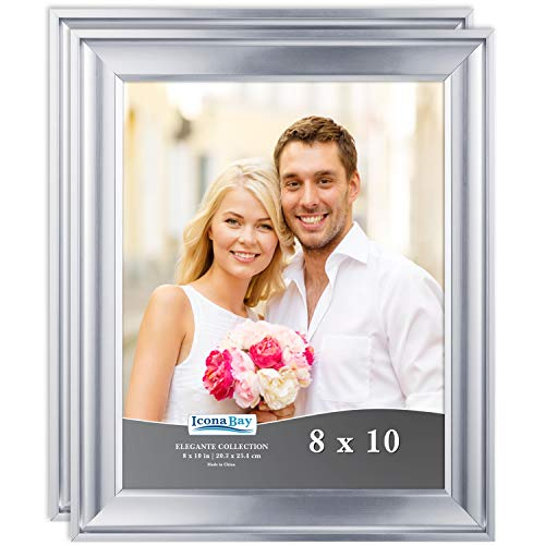 Icona Bay 8x10 Picture Frame (2 Pack, Silver), Silver Photo Frame 8 x 10, Wall Mount or Table Top, Set of 2 Elegante Collection